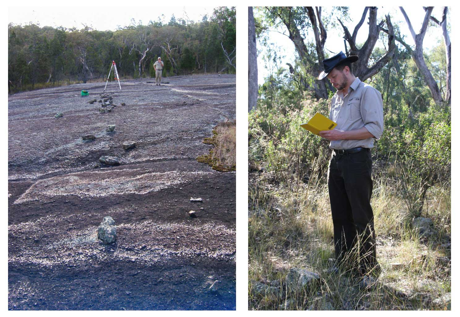 Robert Fuller surveys a stone arrangement in Armidale, NSW (left) and Duane Hamacher examines a small stone circle at Dungowan, NSW (right) (photographs courtesy of D. Hamacher and T. Britton).