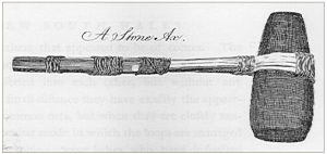 A hafted hatchet (from Stockdale 1789) (published in Australian Archaeology 60:42).