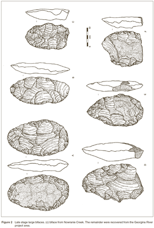 Late stage large bifaces from the Georgina River project area (published in Australian Archaeology 56:23).