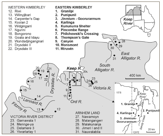 Local of major archaeological excavation sites in the Kimberley, Keep River region and Arnhem Land (published in Australian Archaeology 59:1).